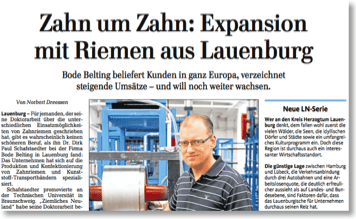 "Lübecker Nachrichten report: ""Expansion with Belts from Lauenburg"""